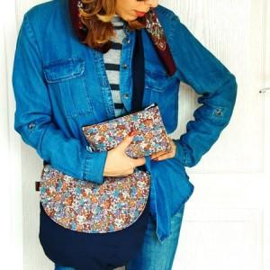 ست کیف زنانه پارچه ای گل دار سرمه ای