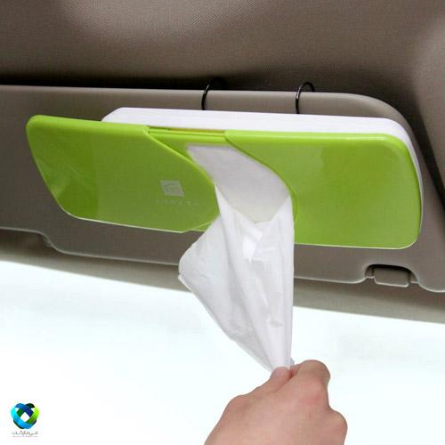 جای دستمال کاغذی کشویی روی سایه بان ماشین