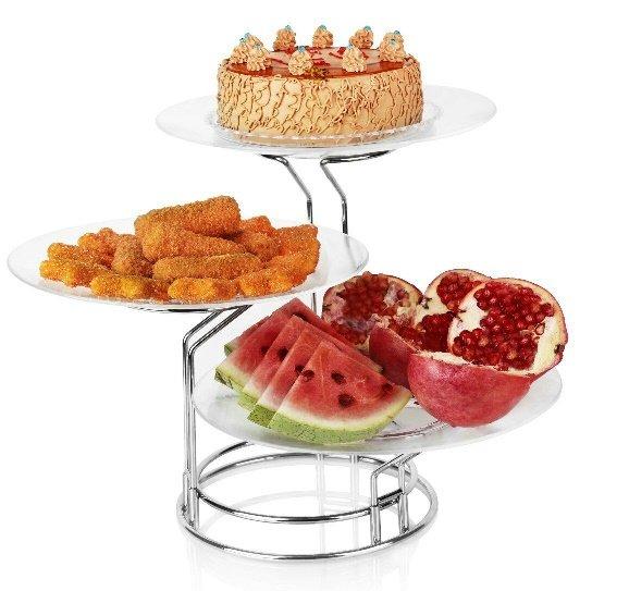 دیس پایه دار میوه و شیرینی سه تایی با پایه استیل