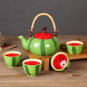 سرویس قوری و فنجان سرامیکی هندوانه + سینی چوبی