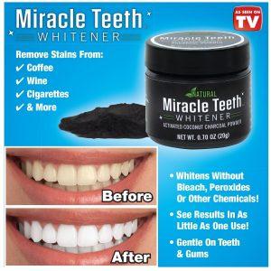 پودر زغال سفید کننده ی دندان میراکل Miracle Teeth