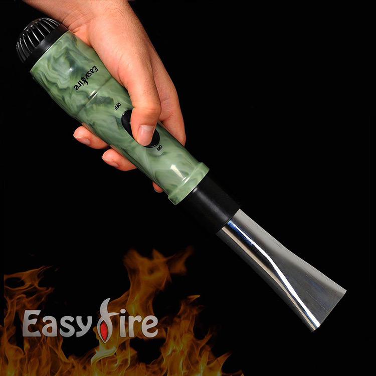 """فن زغال Easy Fire Fan """"قدرت باد بالا"""" کارکرد با ۴ باتری قلمی"""