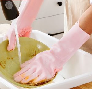دستکش سیلیکونی اسکاج دار مناسب ظرفشویی و تمیزکاری و شستشو