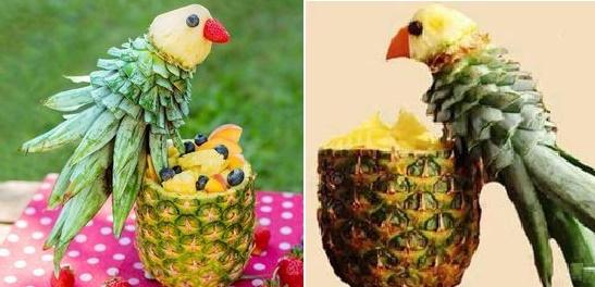 میوه آرایی با آناناس تبدیل به پرنده