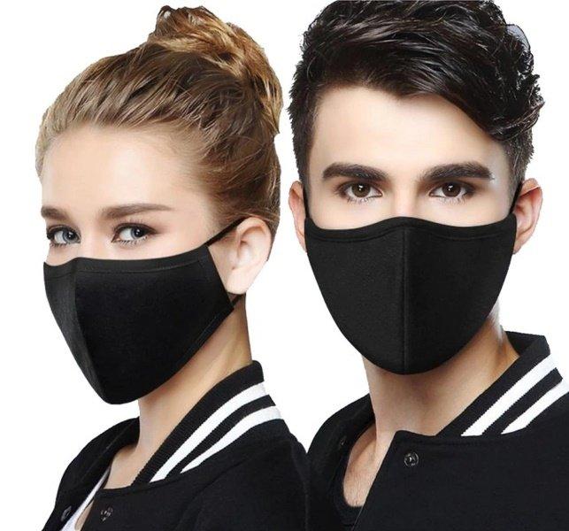 ماسک پارچه ای دو لایه و ضد حساسیت رنگ مشکی