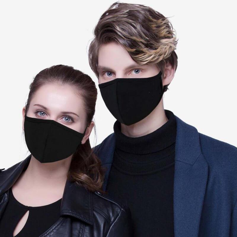 ماسک پارچه ای نخی رنگ مشکی ارزان