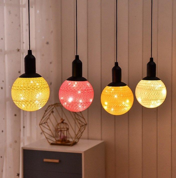 لامپ آویز توپی دکوراتیو با روکش کتان فانتزی و رنگارنگ